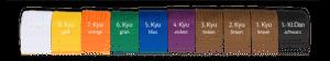 Ikigaido Karate: Die Reihe der Gurtfarben von links nach rechts
