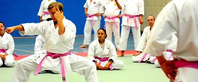 Pinkfarbige Gurte beim KNX-Karate-Seminar.